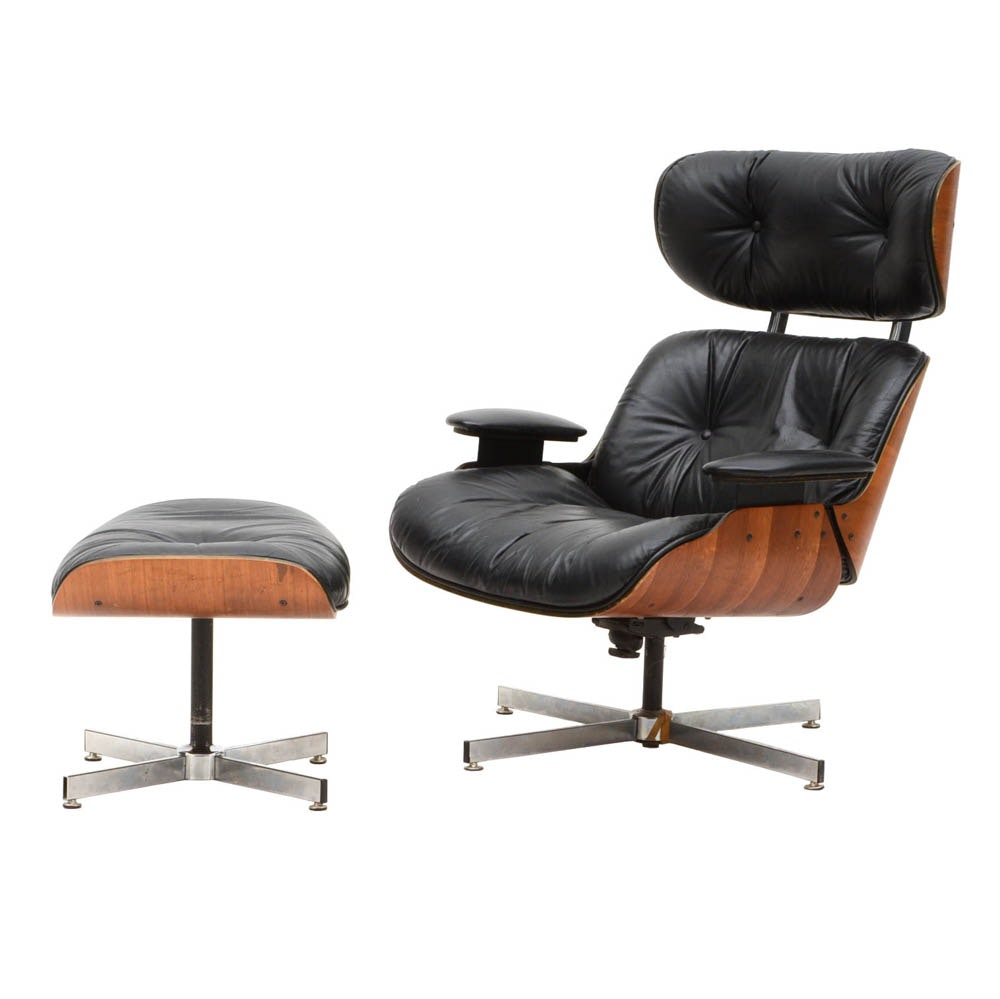 Laminated Walnut Eames Style Leather Chair And Ottoman