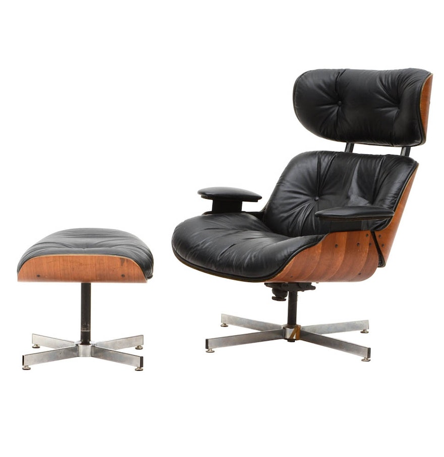 Laminated Walnut Eames Style Leather Chair And Ottoman EBTH