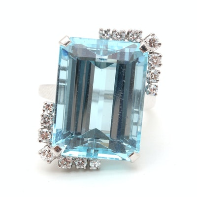Platinum 19.13 CTS Aquamarine and Diamond Cocktail Ring