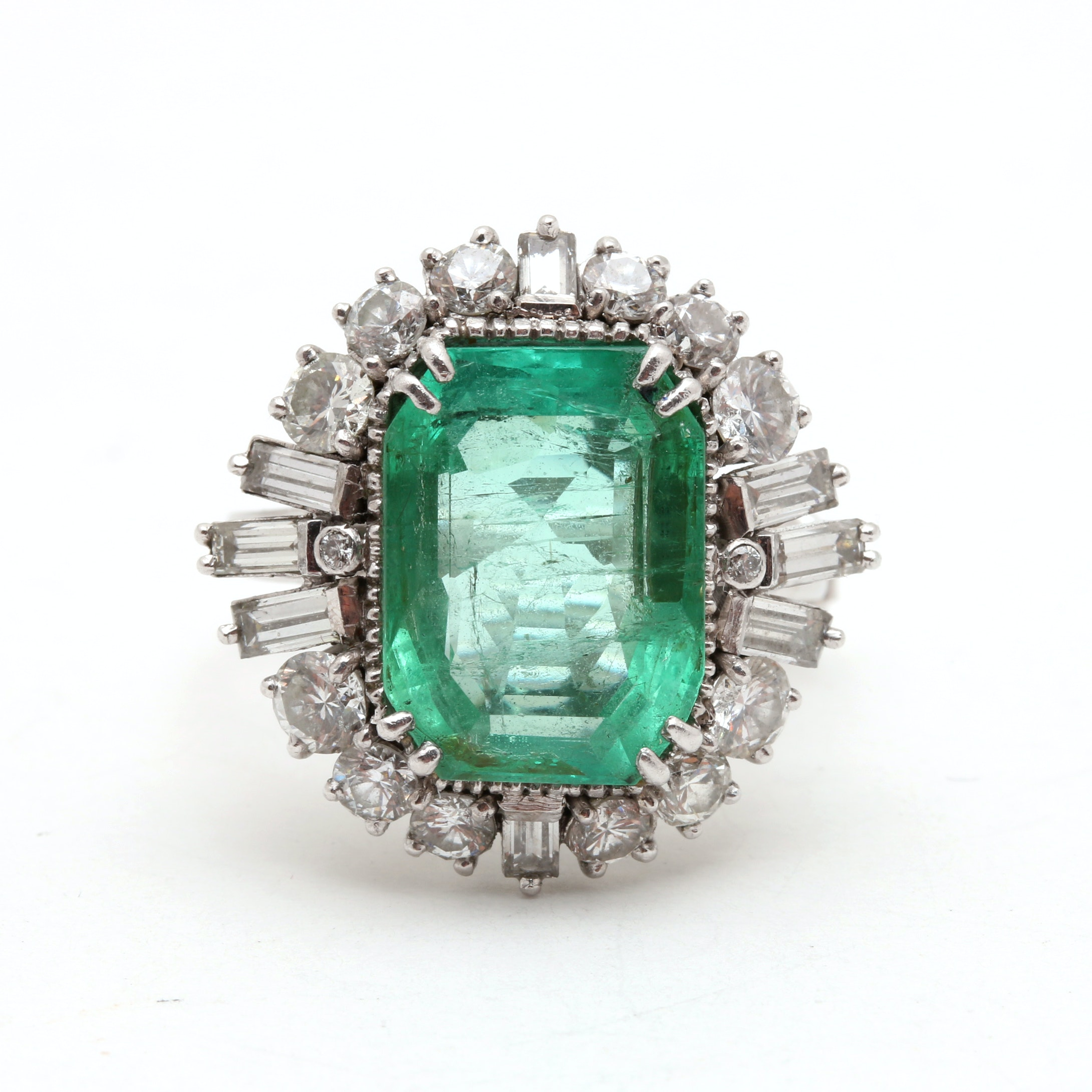 Platinum 7.41 CTS Emerald and 2.24 CTW Diamond Cocktail Ring