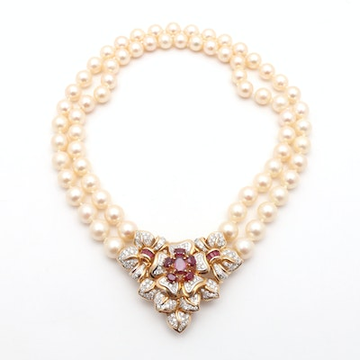 14K Two-Tone Gold Pearl, 3.67 CTW Diamond and 4.20 CTW Ruby Convertible Necklace and Brooch