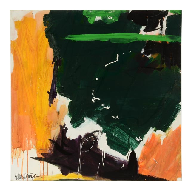 "Robbie Kemper Original Abstract Expressionist Acrylic on Canvas ""Green Stripe"""