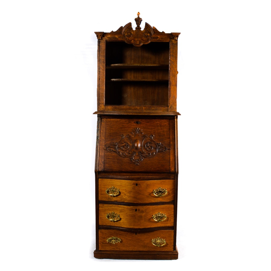 Antique Oak Secretary Desk ... - Antique Oak Secretary Desk : EBTH