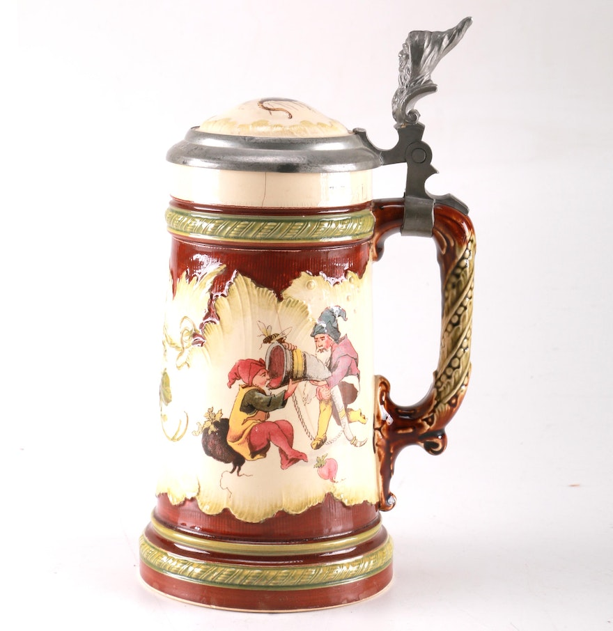 1895 villeroy boch mettlach german gnome beer stein ebth. Black Bedroom Furniture Sets. Home Design Ideas