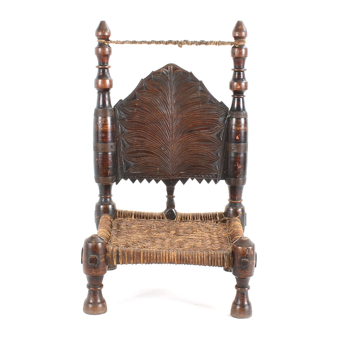 Vintage Hand Carved Indian Pida Chair With Woven Seat ...
