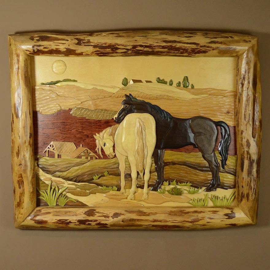 Rustic Wood Intarsia Horse Wall Art : EBTH