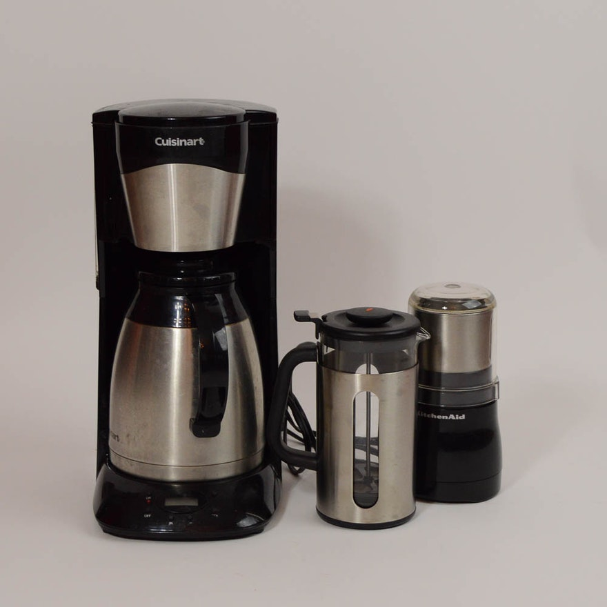 CuisinArt Coffee Maker KitchenAid Grinder And An OXO French Press