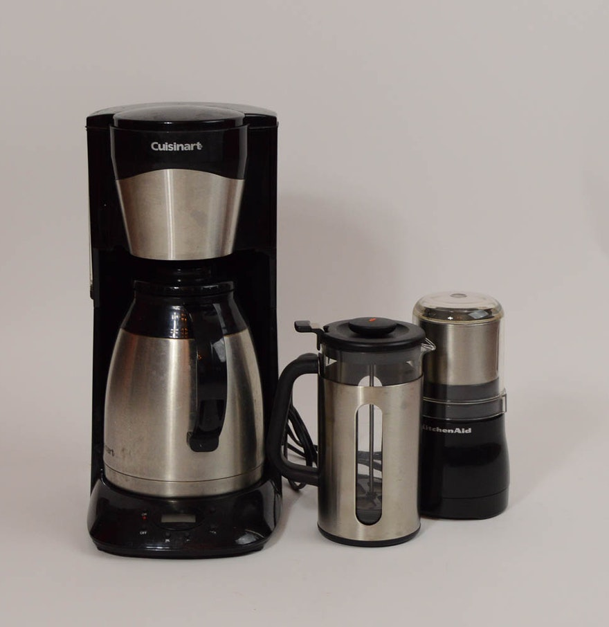 Cuisinart Coffee Maker With Grinder Leaking : CuisinArt Coffee Maker, KitchenAid Coffee Grinder, and an OXO French Press : EBTH