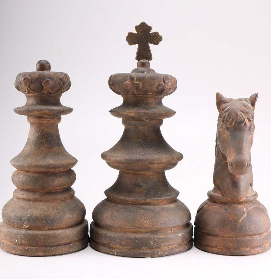 Group of oversized decorative chess pieces ebth - Ornate chess sets ...