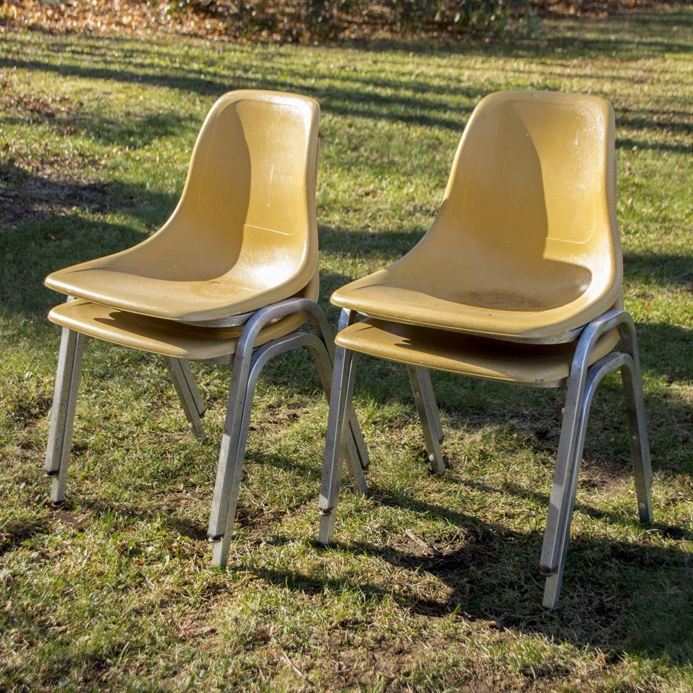 Mid Century Fiberglass Stacking Chairs ...