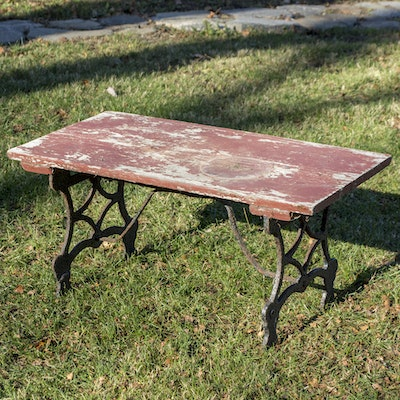 Checker board theme side table ebth for Cast iron outdoor coffee table