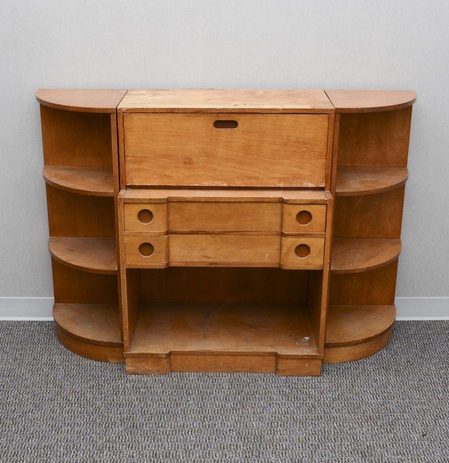 secretary style desk with detached corner shelving units. Black Bedroom Furniture Sets. Home Design Ideas