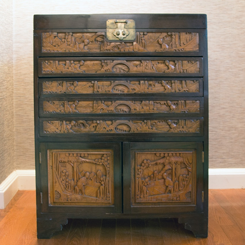 Hand Carved Chinese Flatware Cabinet ...