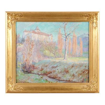 "William Samuel Horton Oil on Canvas ""Chateu De Blonay"""