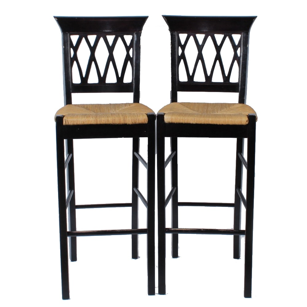 Pair Of Painted Black Bar Stools With Rush Seats Ebth