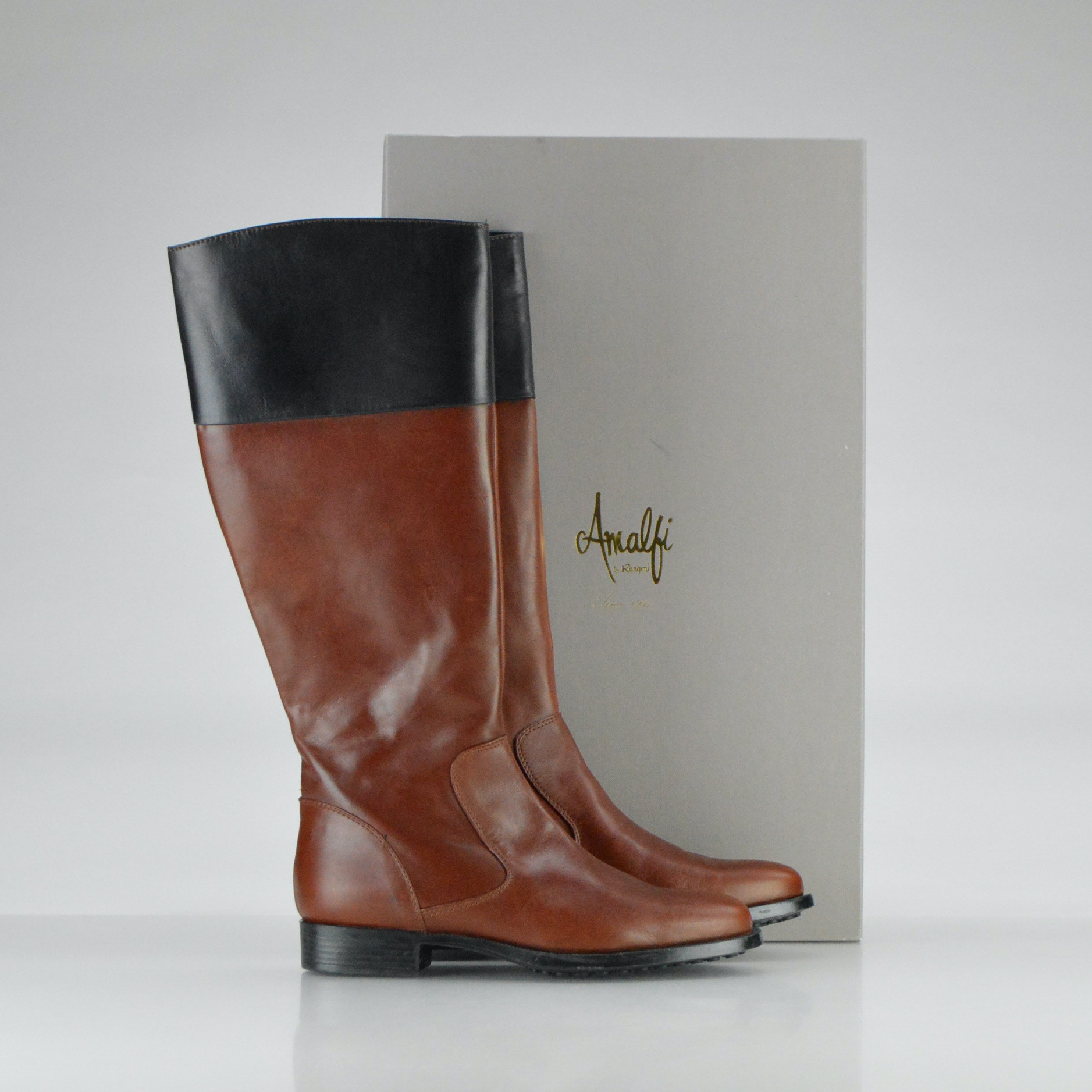 brown and black leather amalfi by rangoni boots ebth