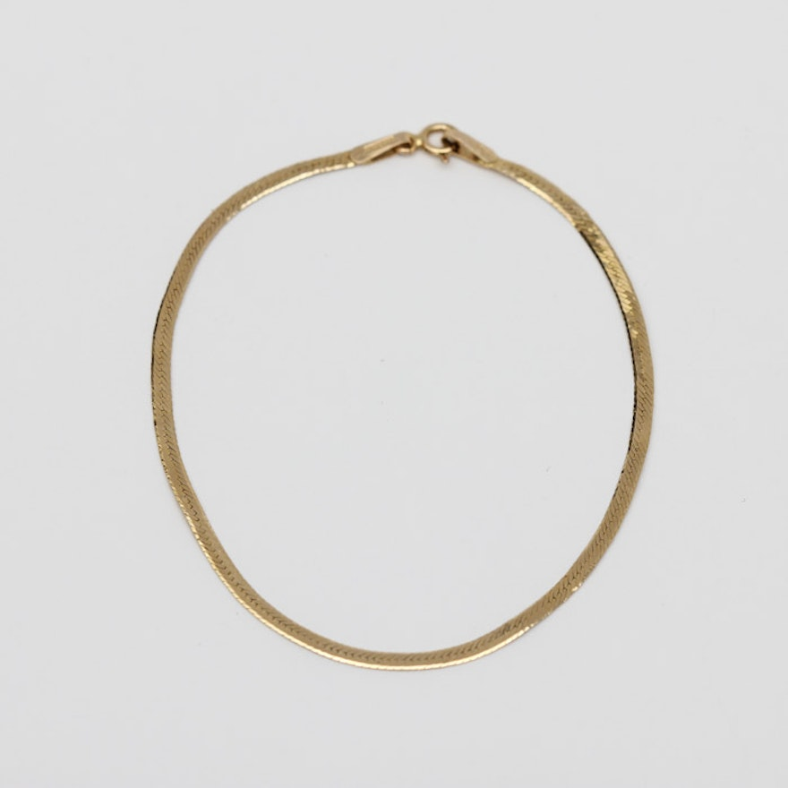 14k Gold Herringbone I Love You Bracelet