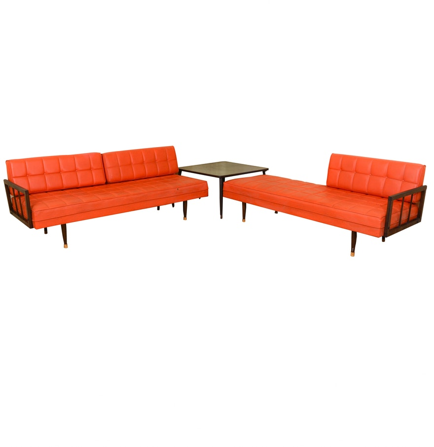 Mid century modern couch and chaise lounge with corner for Table chaise moderne