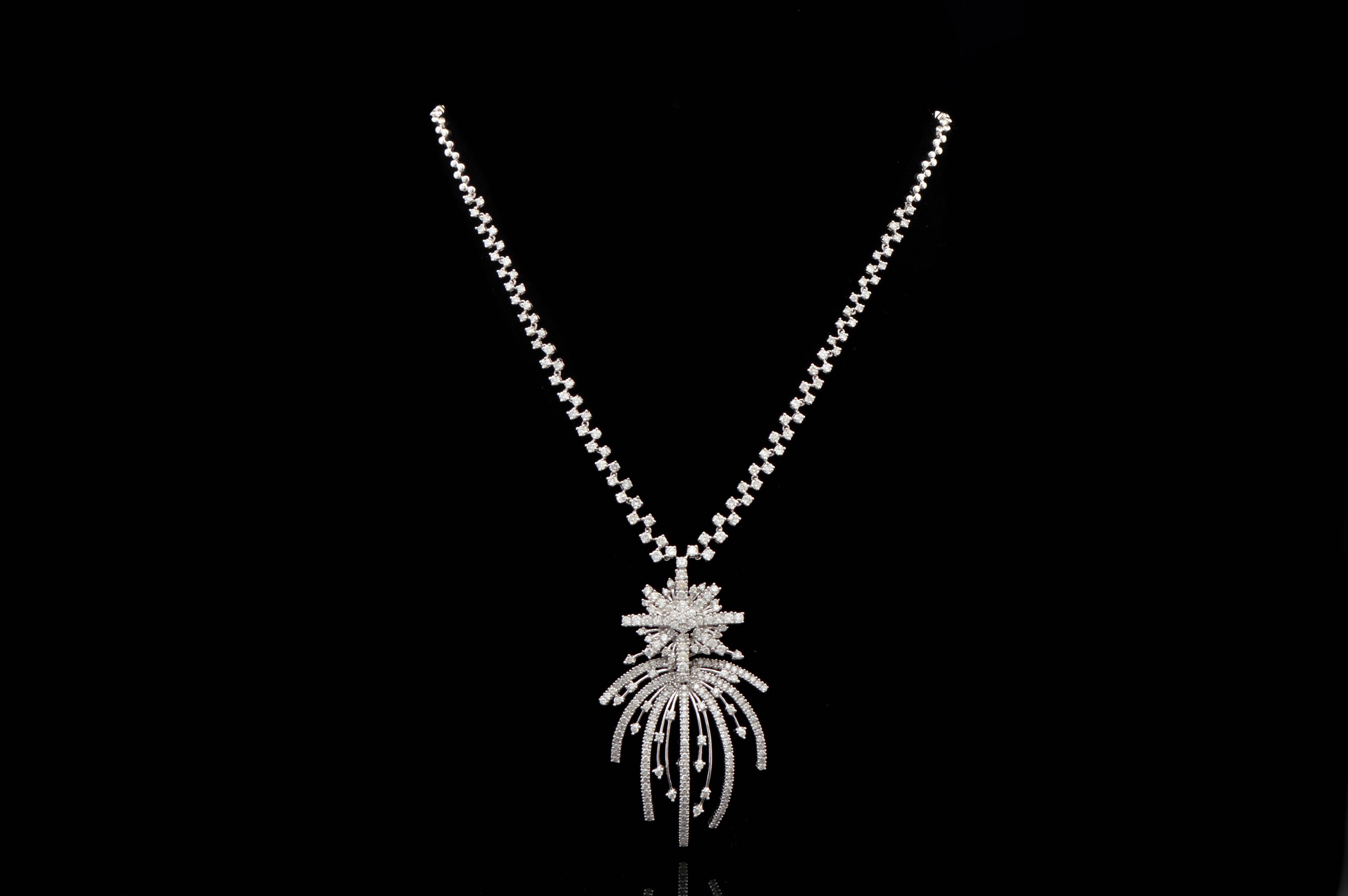 9.60 CTW Round Brilliant Diamond and 18K White Gold Necklace