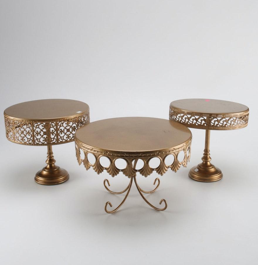Decorative Cake Stands Gold Tone Decorative Cake Stands Ebth
