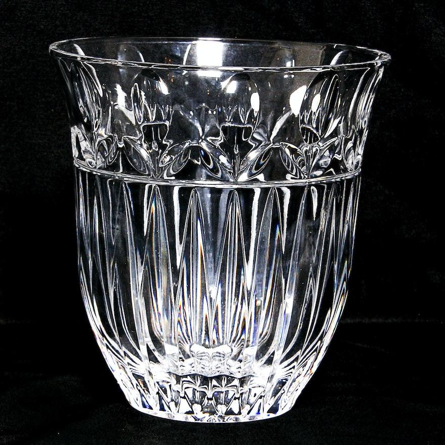 Hand Crafted Block Crystal Vase Ebth
