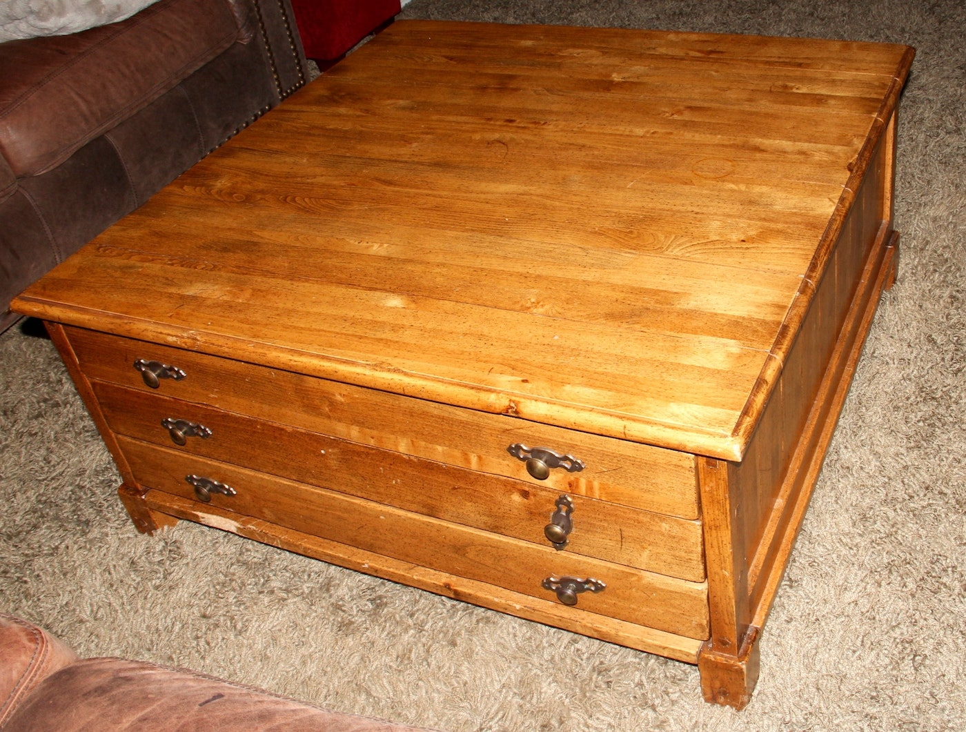 Early 21st Century Map Chest Style Coffee Table Ebth