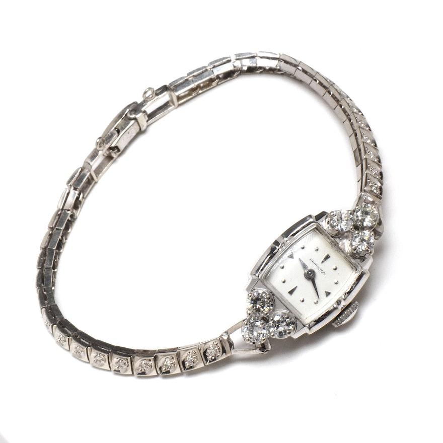 Preferred Women's Vintage Hamilton 14K White Gold Diamond Watch Bracelet : EBTH MM45