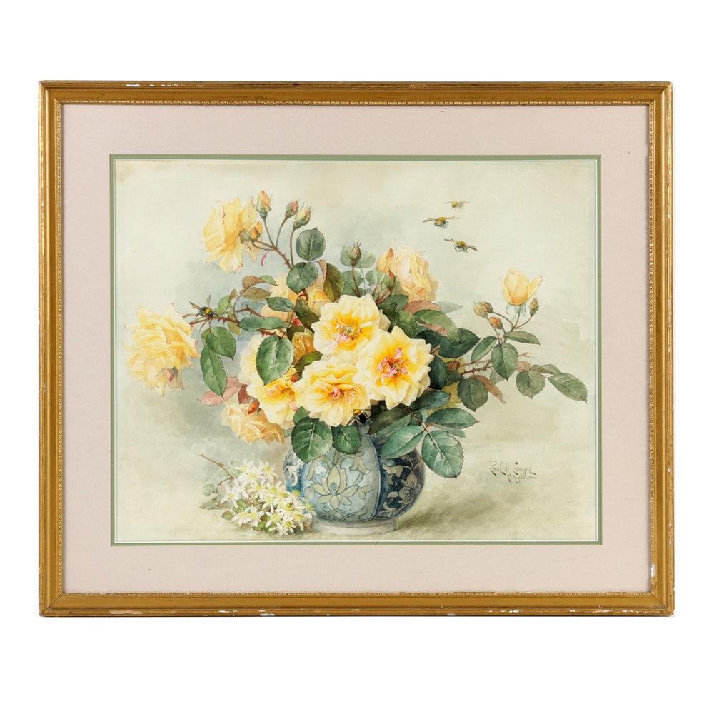 Paul De Longpré Floral Still Life Watercolor Painting