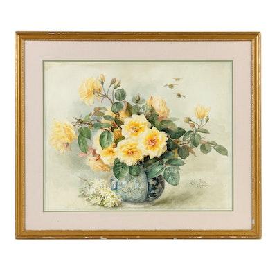Paul De Longpré Floral Still Life Watercolor Painting