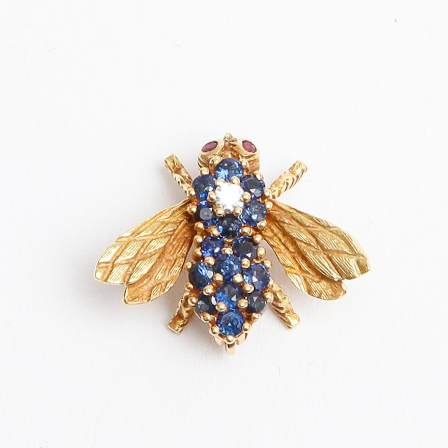 carved sapphire and brooch emerald star