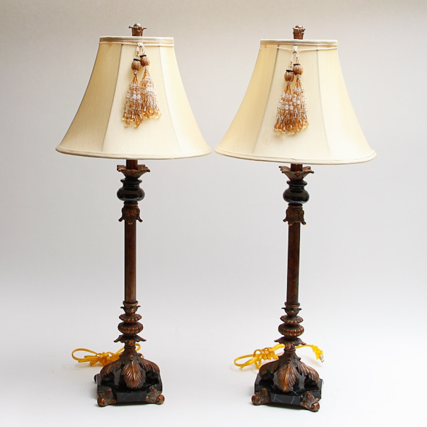 Pair of Berman Candlestick Style Table Lamps   EBTH