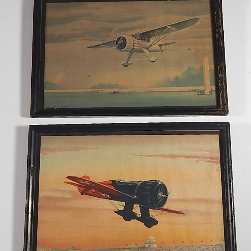 Two Framed Vintage Charles Hubbell Airplane Prints : EBTH