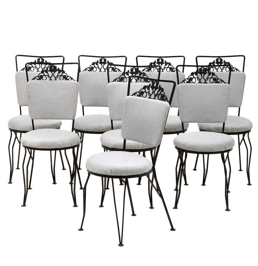 Set Of Eight Woodard Wrought Iron Garden Chairs Ebth
