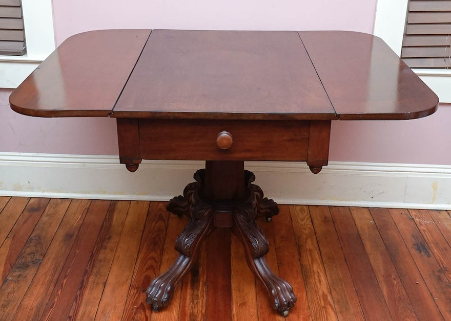 Antique Drop Leaf Pedestal Dining Table Ebth