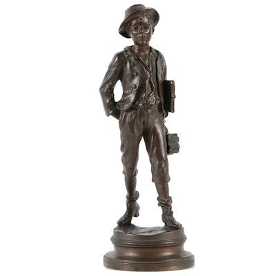 Marcel Debut Bronze Sculpture of a Schoolboy