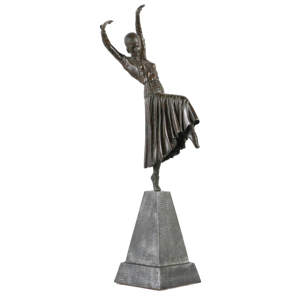Bronze Dancer on Obelisk Base