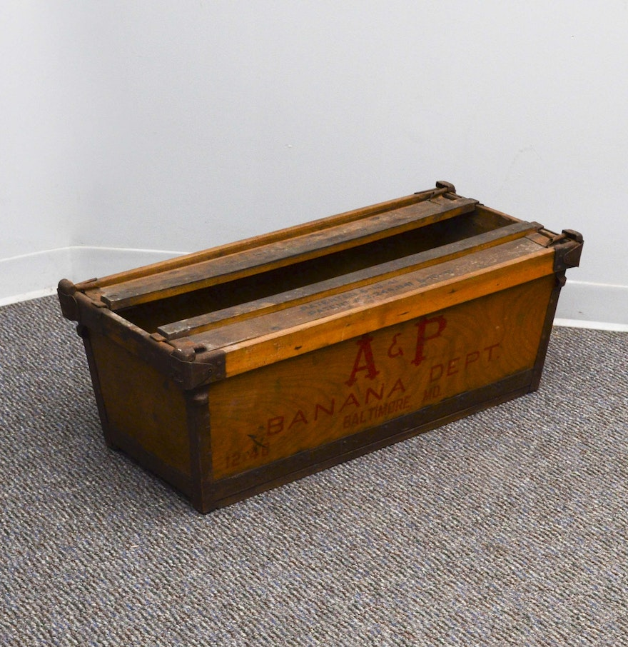Vintage A P Banana Department Wood Crate Ebth