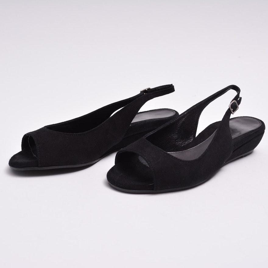 d748ae868ef Dana Davis Black Suede Slingback Shoes   EBTH