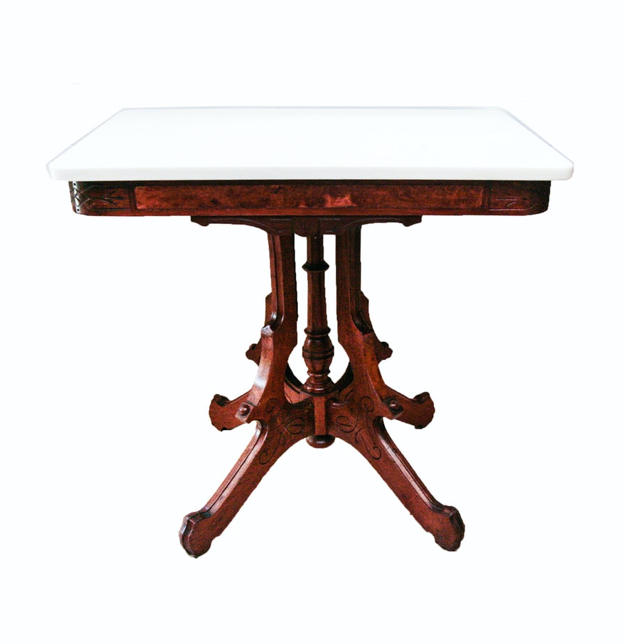 Vintage Victorian Style Mahogany And White Marble Table Ebth