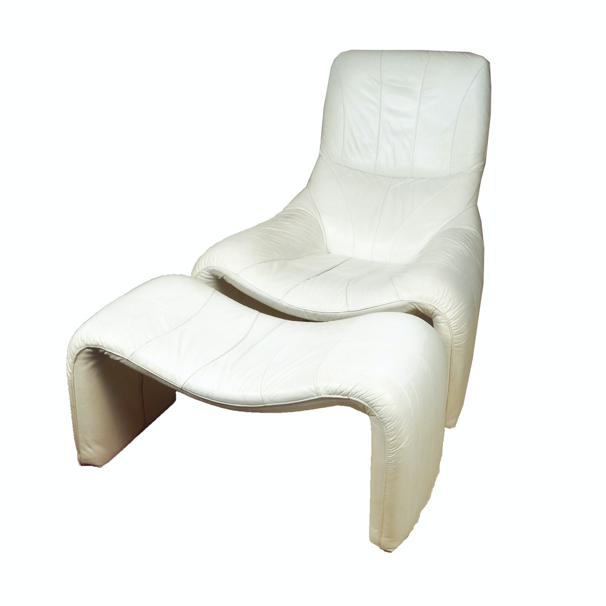 Contemporary White Leather Chair and Ottoman