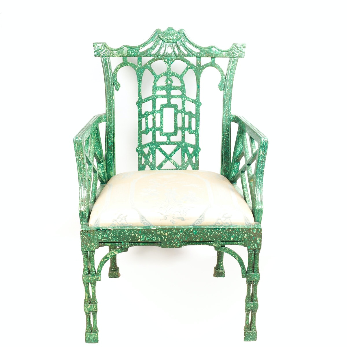 Chinoiserie Faux Marble Armchair