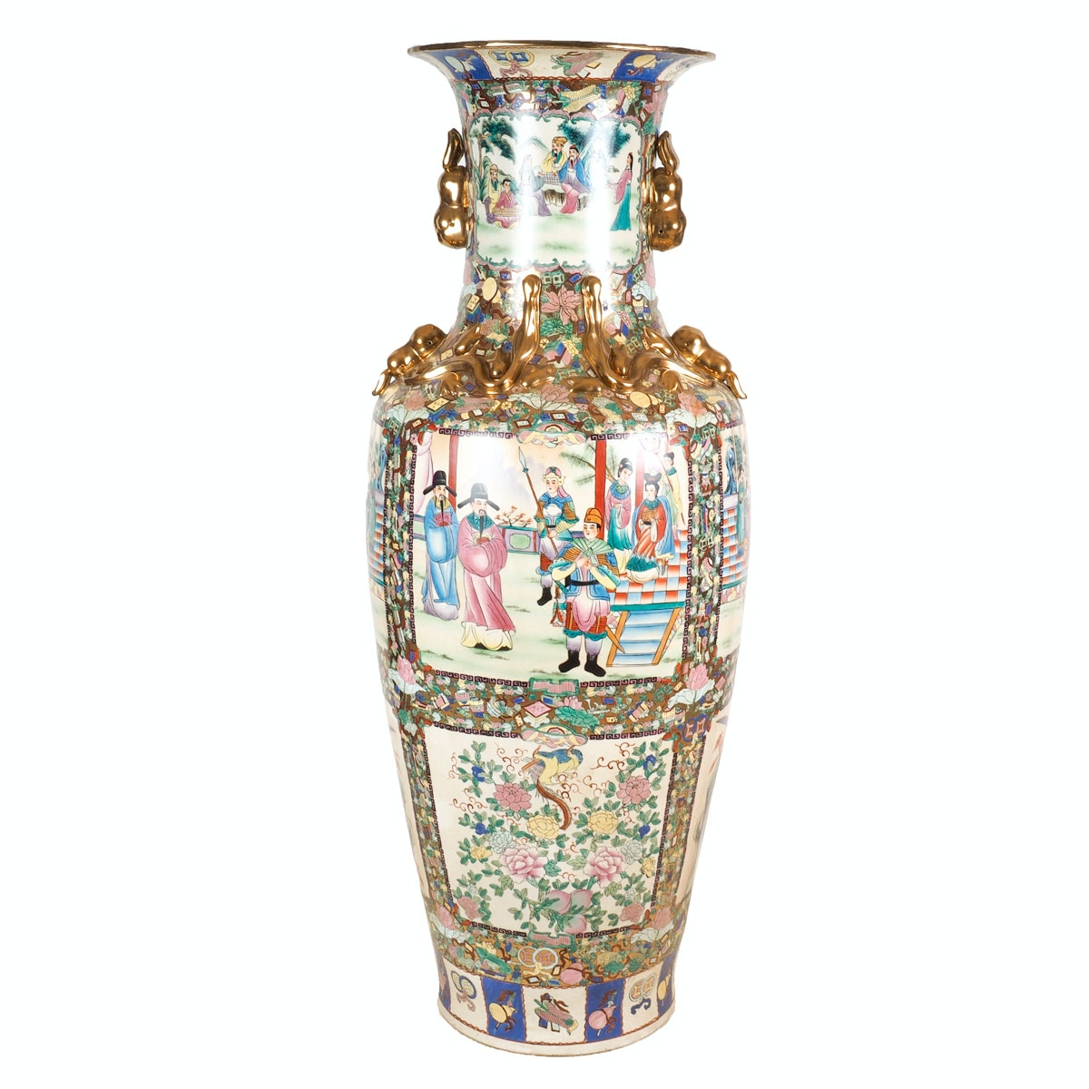 Monumental Hand-Painted Chinese Porcelain Vase