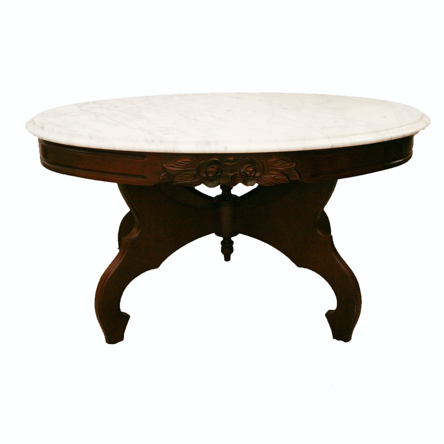 Victorian Style Marble Coffee Table: Vintage Victorian Style Mahogany And Marble Coffee Table