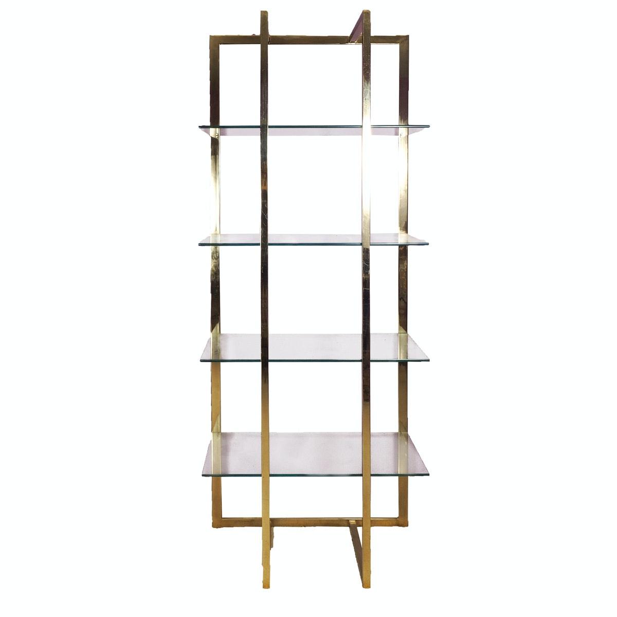 Glass and Brass Frame Bookshelf