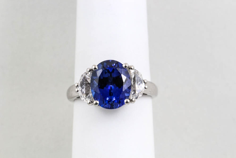 10k white gold and sapphire ring ebth