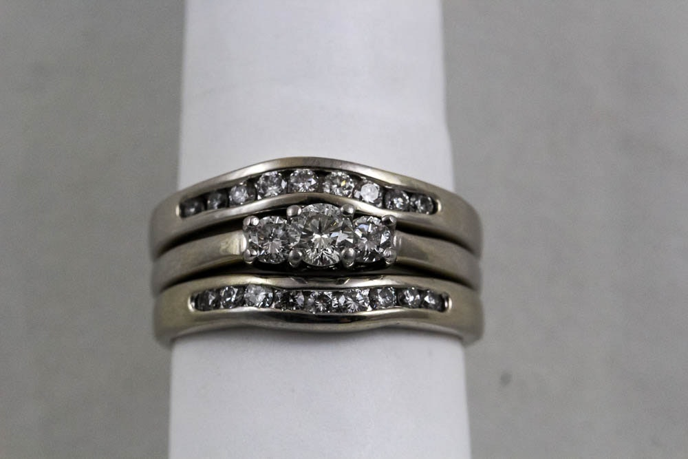 three magicglo 14k white gold and platinum rings