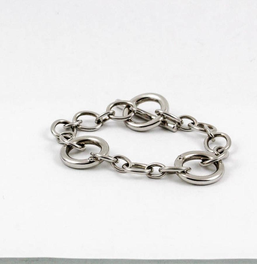 Stamped 925 bracelet with inset diamonds ebth for Diamond stamp on jewelry