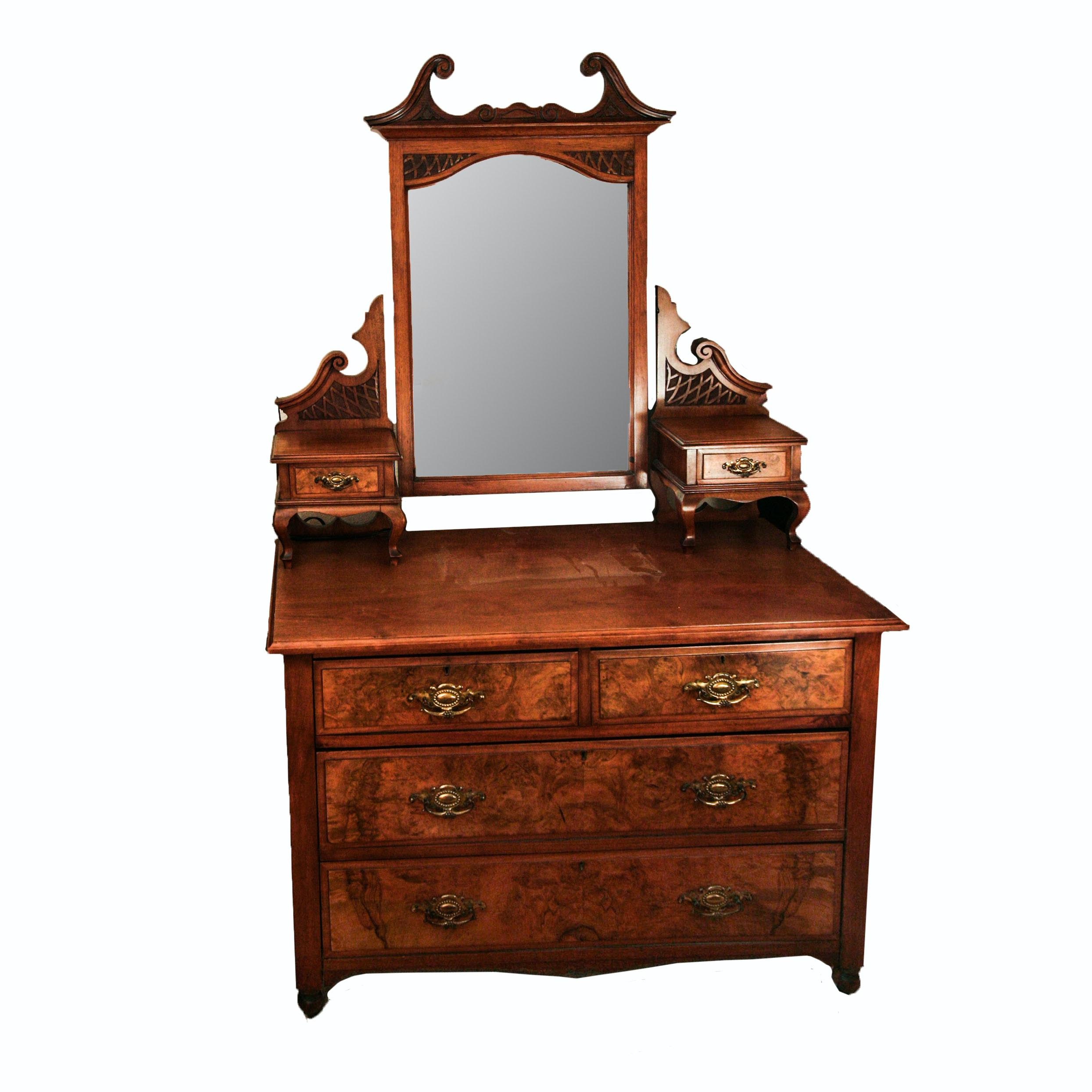 Vintage Wooden Dresser With Mirror Ebth
