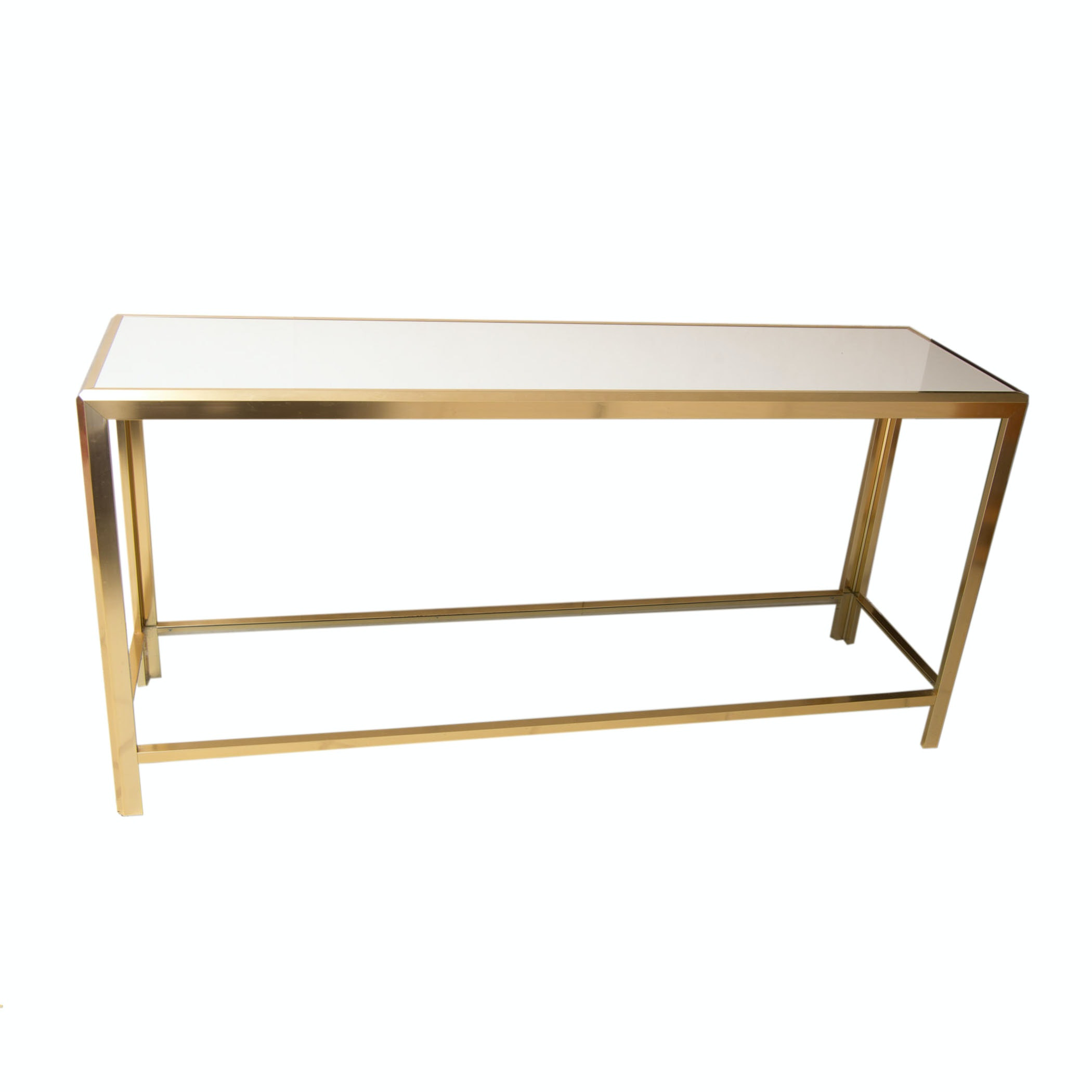 Gold Tone Metal And Glass Hall Table ...