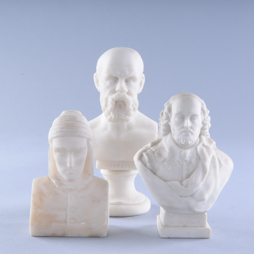 Miniature Busts of Dante, Socrates, and Shakespere